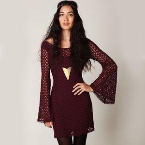 Free People Burgundy Gypsy Lace Crochet Mini Dress